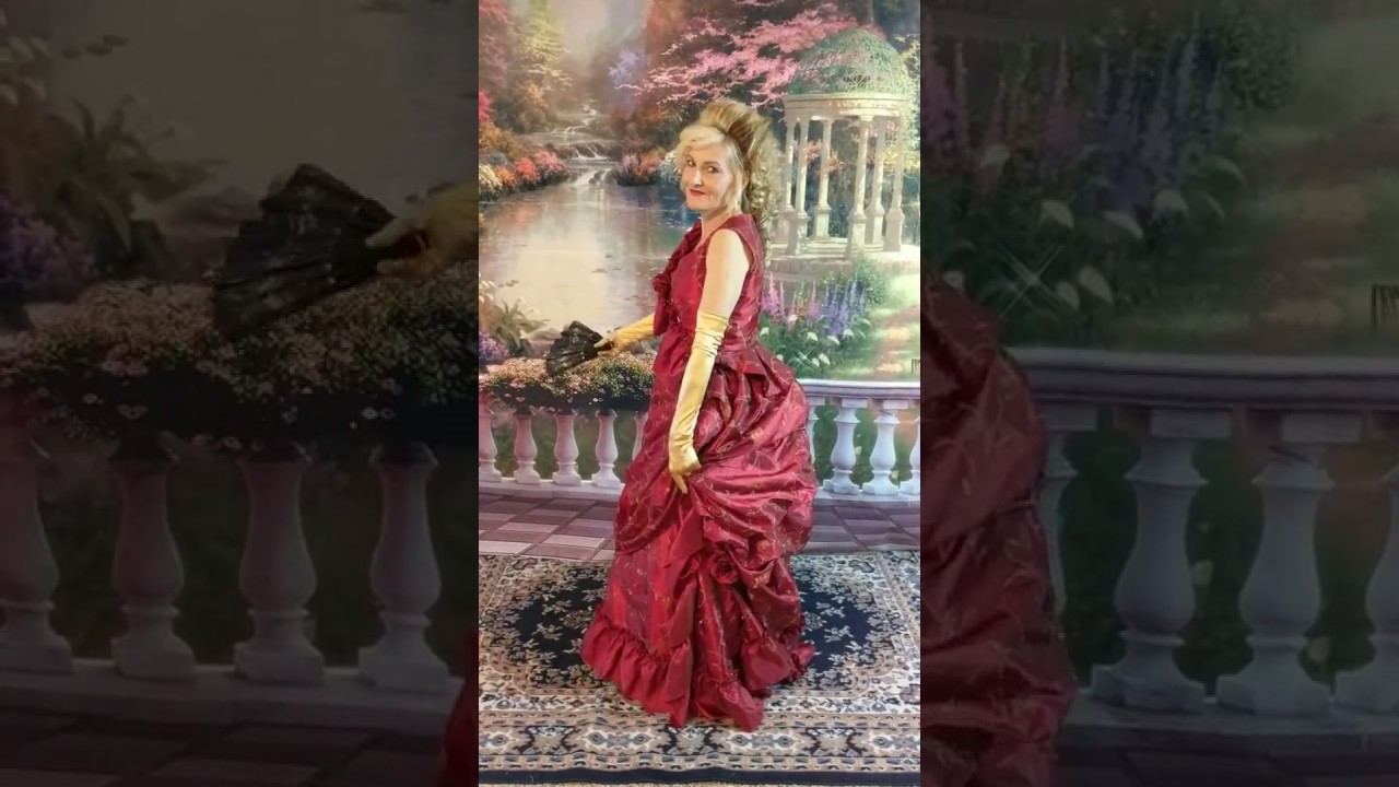 Red embroidered taffeta Victorian Bustle Gown by Victoria Vane - YouTube