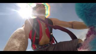 dude gets worked by an art car at burning man 2014