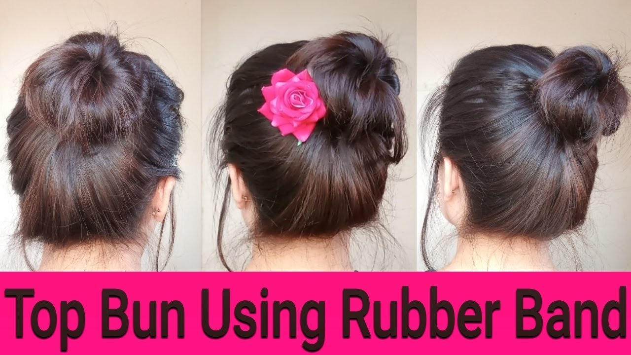 Top Knot Bun Quick Easy Summer Bun Hairstyles Using Rubber
