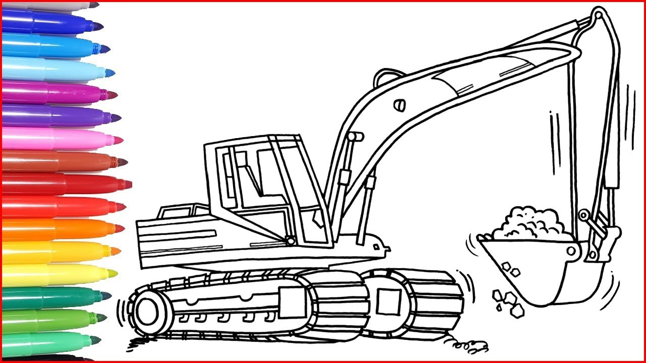Bagger Ausmalbilder  Bagger Zeichnen und Malen für Kinder  Malbuch  Zeichentrick