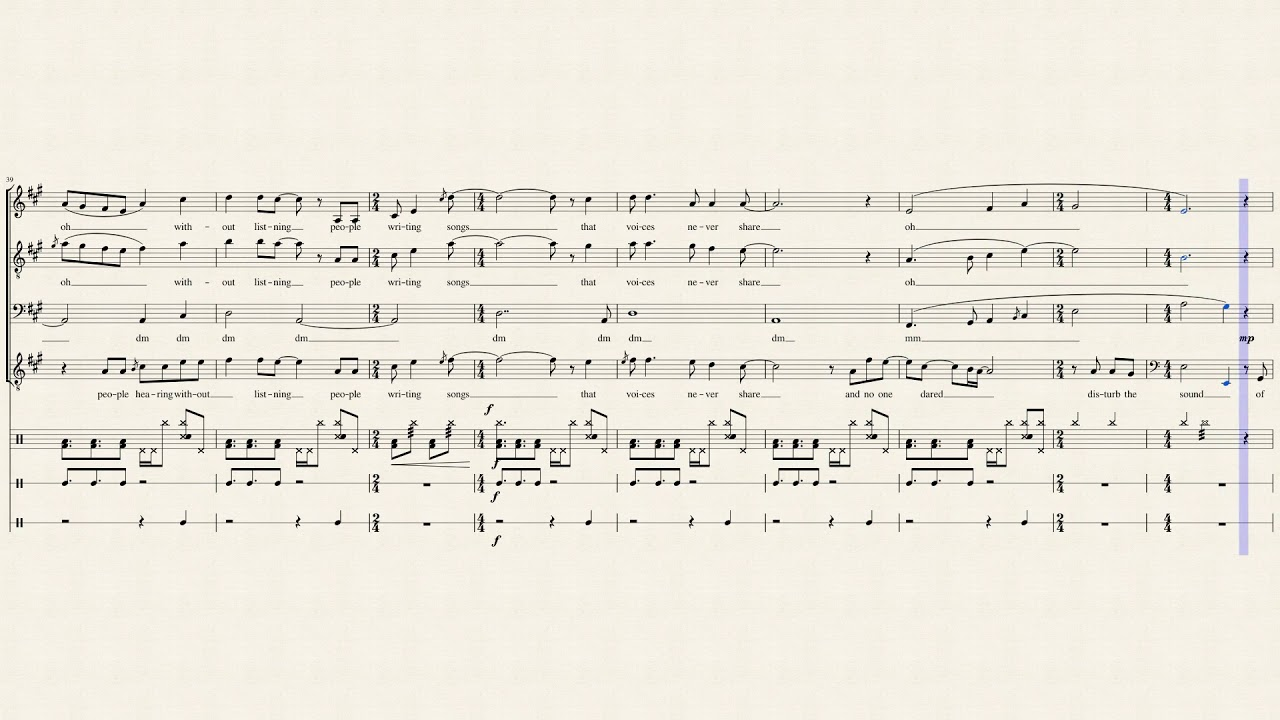 The Sound Of Silence Pentatonix Full Sheet Music With Lyrics