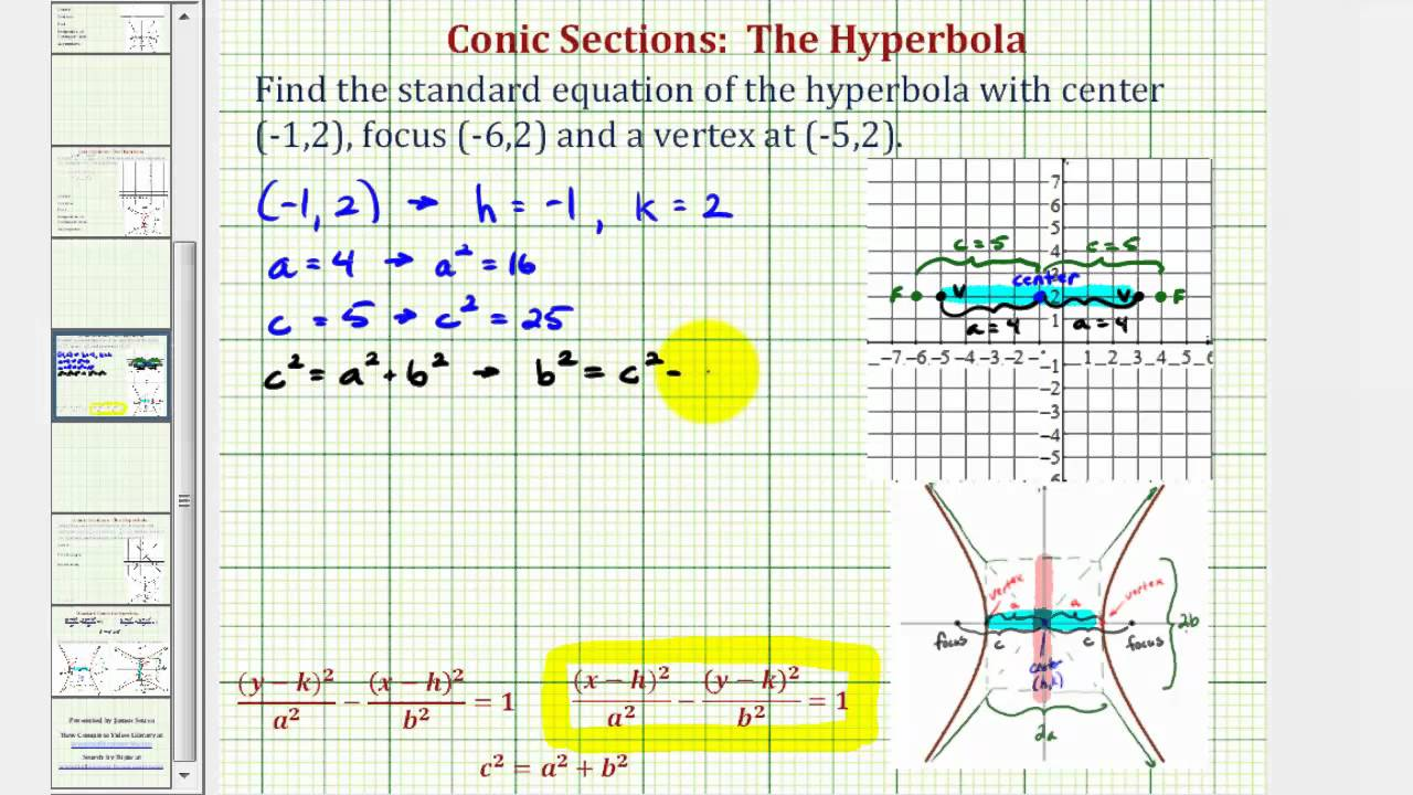 Ex find the equation of a hyperbola given the center focus and ex find the equation of a hyperbola given the center focus and vertex falaconquin