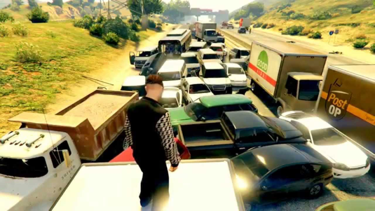 gta v traffic jams explosions and more youtube. Black Bedroom Furniture Sets. Home Design Ideas
