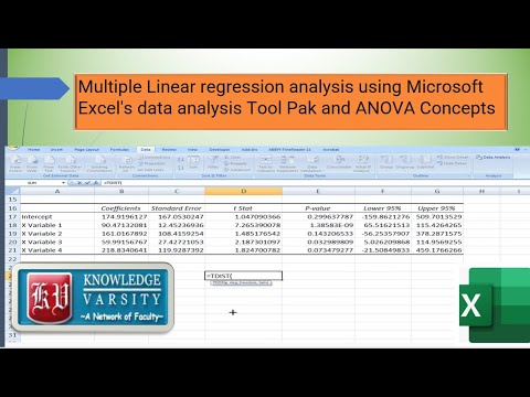 Multiple Linear Regression Analysis Using Microsoft Excel's Data Analysis Toolpak And ANOVA Concepts
