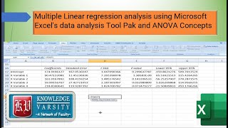 Multiple Linear regression analysis using Microsoft Excel