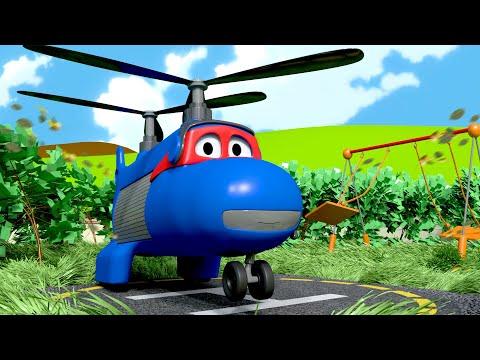 O avião de carga  - Carl o Super Caminhão na Cidade do Carro  Desenho animado para crianças