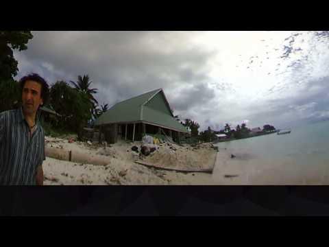 Damage from a high tide in Tarawa, Kiribati