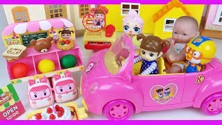 Baby doll Pink car and mini Mart cooking play story - ToyMong TV 토이몽
