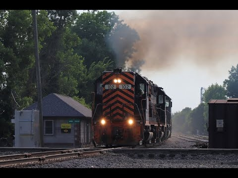 W&LE highhood GP35 bangs the diamond at Upper Sandusky Ohio on CF&E Railroad