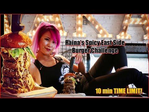 Raina's East Side Spicy Burger Challenge | 10Min Time Limit NO LIQUIDS ALLOWED! | RainaisCrazy