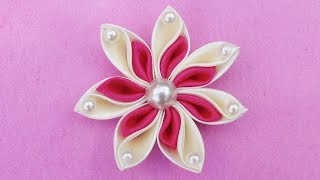 DIY Ribbon Flower I How To Make Kanzashi Ribbon Flower I Flower Hair Clip Tutorial