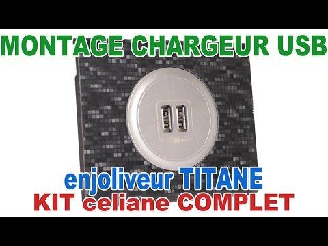 Enjoliveur double pour prise chargeur USB Legrand céliane titane 68556
