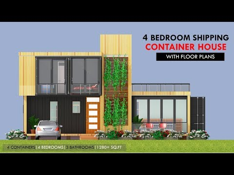 Modular Shipping Container 4 Bedroom Prefab Home Design with Floor Plans | MODBOX 1280