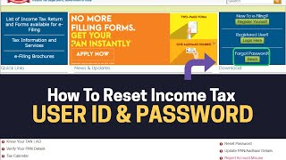 HOW TO RESET INCOME TAX USER ID AND PASSWORD IN FY 2019-20 & AY 2020-21 | IN HINDI