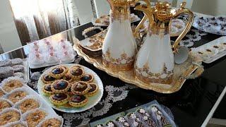 عدة حلويات بعجينة واحدة وطاولة العيد الجزائرية في آخر الفيديو