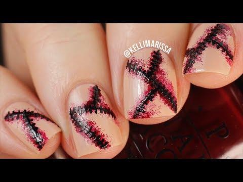 DIY Stitched Up Halloween Nail Art Design Tutorial    KELLI MARISSA