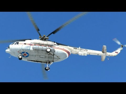 Вертолет Ми-8МТ МЧС России, взлет и посадка в аэропорту