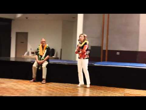 Linda Lee Cadwell speaks at Richard Bustillo's 70th Luau