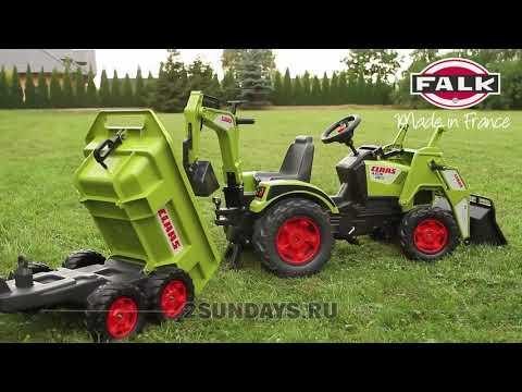 Трактор экскаватор педальный FALK 1010W и 1010WH с прицепом