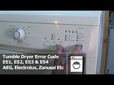 Tumble dryer error code E51, E52, E53 & E54 Electrolux, AEG, Zanussi