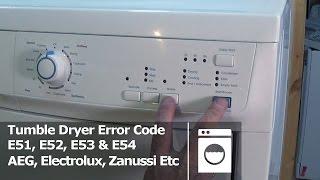 tumble dryer error code e51 e52 e53 e54 electrolux aeg zanussi