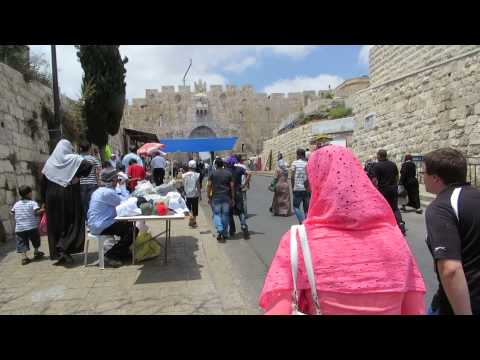 Muslim worshipers entering through Jerusalem's Lion's Gate to Al-Aqsa Mosque during the Ramadan