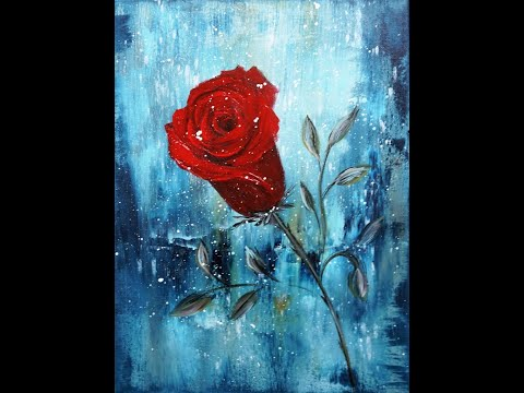 Acrylic Painting/Red Rose/Abstract