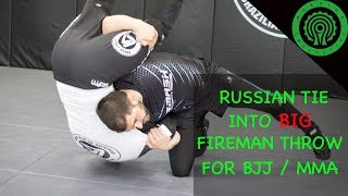 Wrestling Using the Russian Tie to hit a Super Clean Fireman Carry Throw in BJJ / MMA