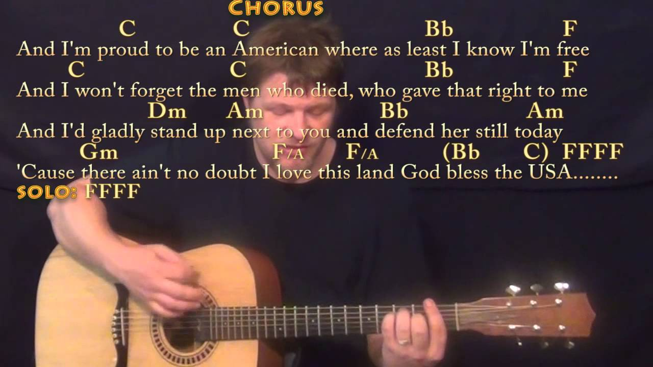 God Bless The Usa Lee Greenwood Strum Guitar Cover Lesson With