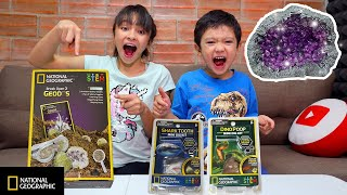 Brianna and Skyler open National Geographic STEM kits. Break Open 2 Geodes, Shark Tooth ampCoprolite
