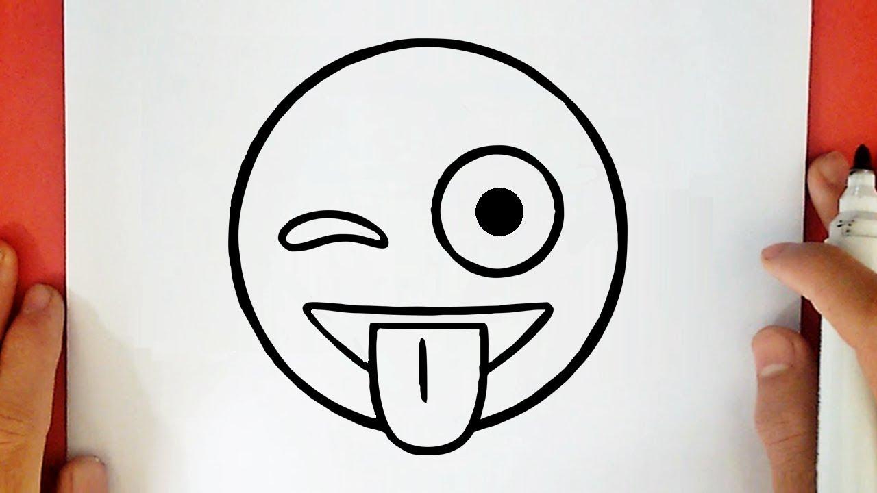 Comment Dessiner Emoji Clignotant Et Montrant La Langue