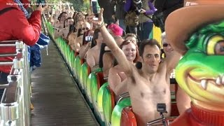 Watch Thrill-Seekers Ride a Roller Coaster Naked to Break World Record