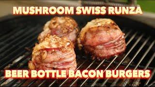 Mushroom Swiss Runza Beer Bottle Bacon Burger