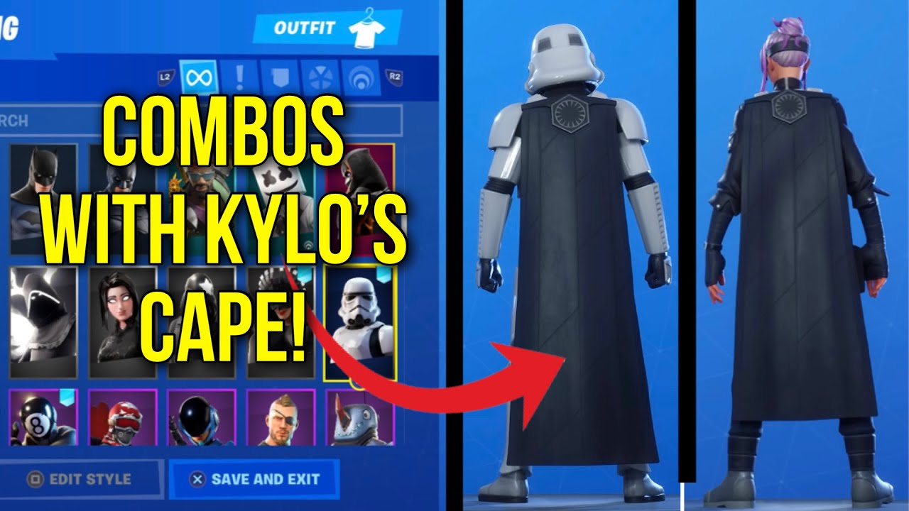 Fortnite Cape *new* fortnite star wars kylo ren skin! kylo's cape showcased with 34 best  combos!