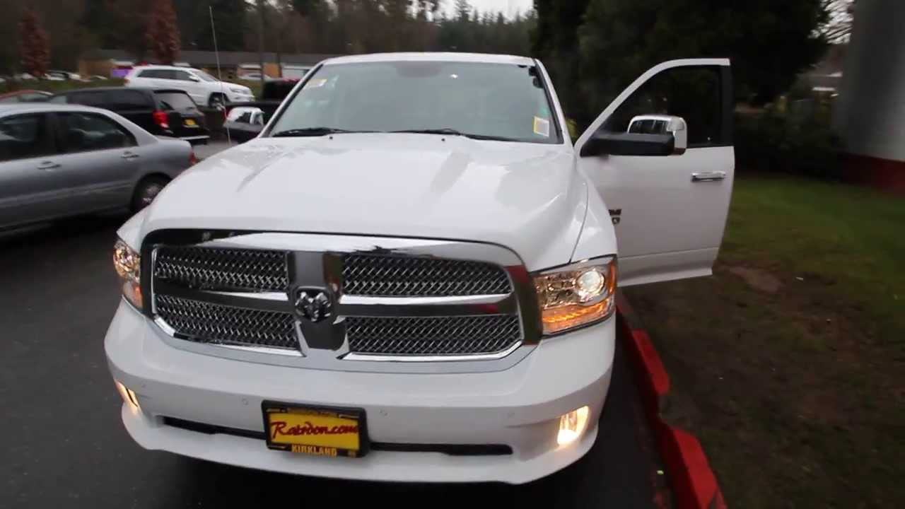 2014 Dodge Ram Laramie Longhorn 1500 Crew Cab | White | ES195467 | Seattle | Bellevue - YouTube
