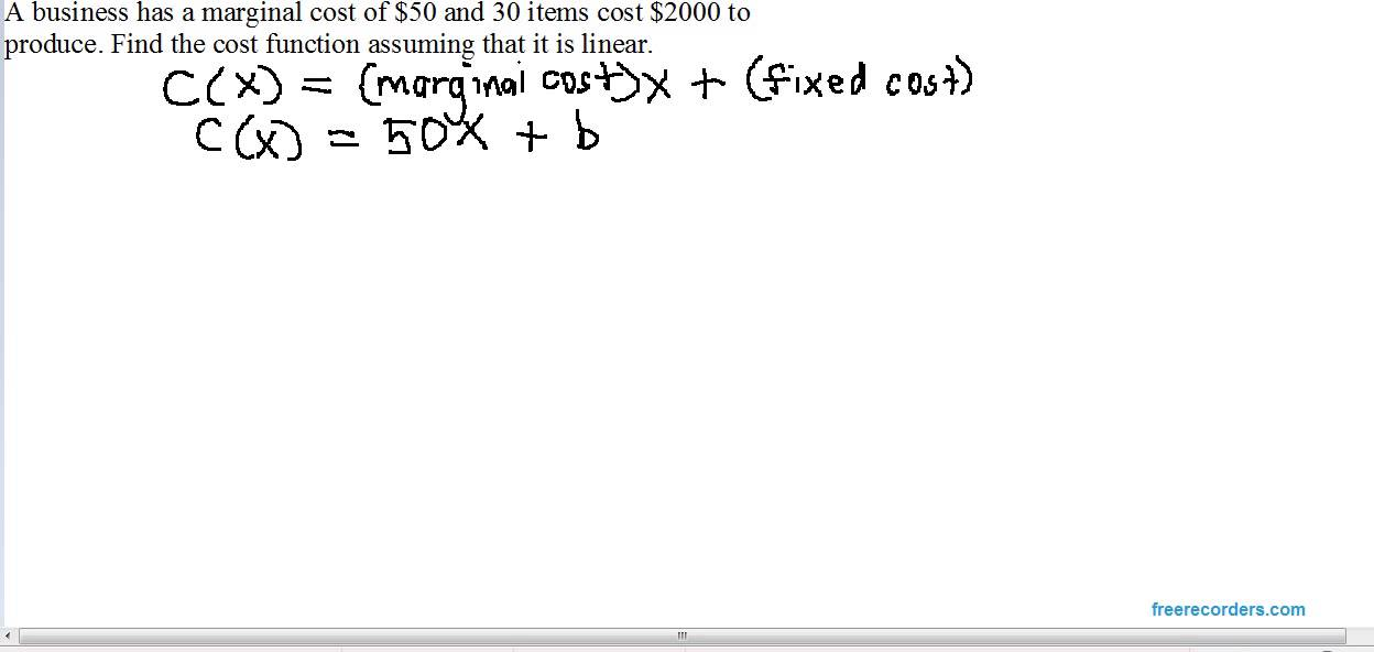 Finding a linear cost function 2 - YouTube