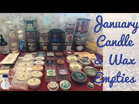 Winter Candle & Wax Empties|January 2018|Bath & Body Works, Yankee..