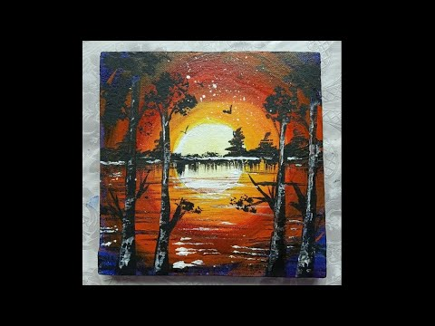 Easy sunset Acrylic painting demo/Beach evening scene step by step/ fantasy scenery
