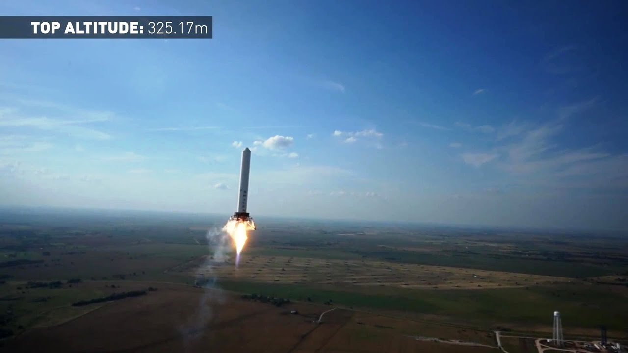 spacex grasshopper vertical takeoff vertical landing vtvl reusable rocket 325m test 1080p youtube