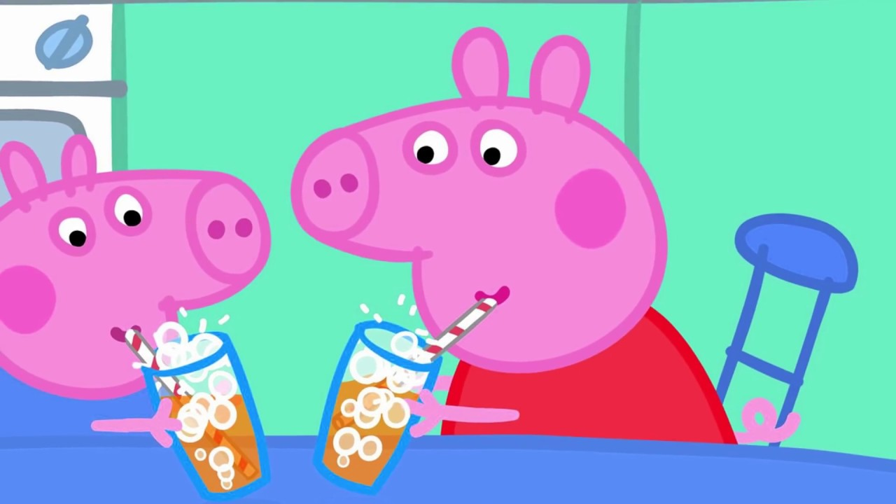 Свинка Пеппа / собираем пазл пеппа и джордж пьют яблочный ...