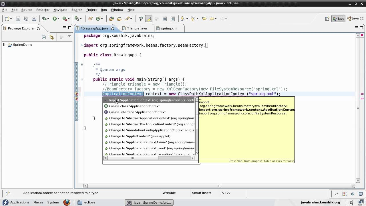 Spring tutorial 05 applicationcontext and property.