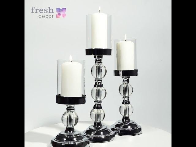 Набор из 3х серебряных подсвечников на ножке со стеклянными шариками рассчитанного на одну свечу