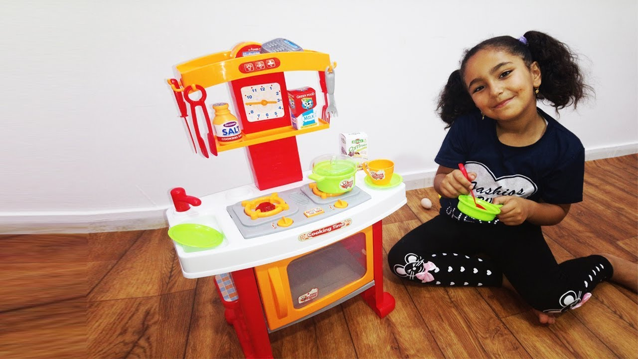 Masa Pretend Play W Cooking With Toy Kitchen Set Video For Kids