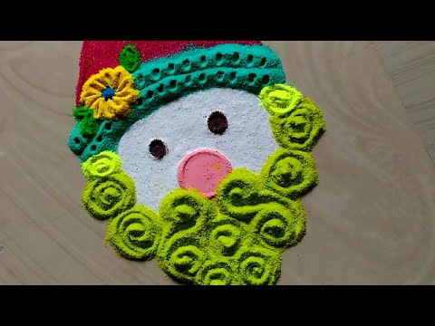 Easy & quick freehand Santa rangoli design 2019