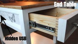 Design & Build - End Table with Hidden USB Port and plug socket