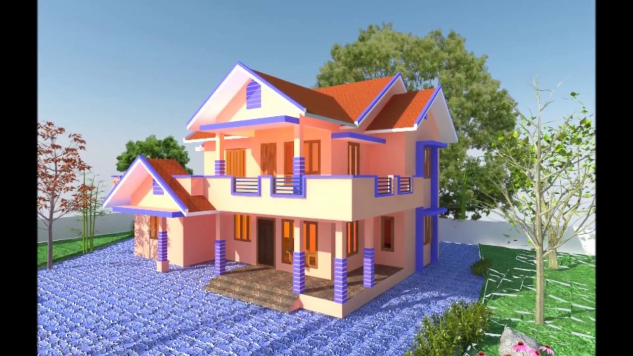 House plan elevation house design 3d view kerala for Create 3d home design online