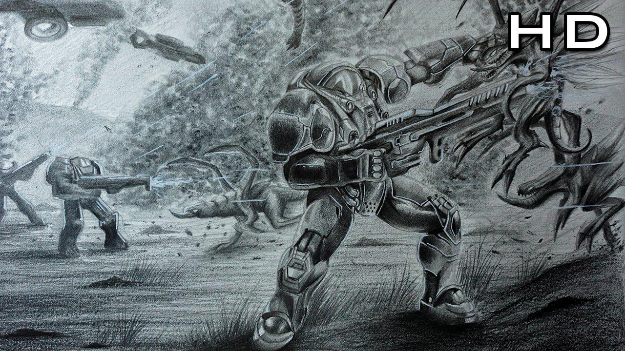 Increíble Dibujo A Lápiz De Starcraft Ii Epic Concept Art Youtube