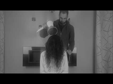 Relax In Black And White With Hair Dryer And Girl