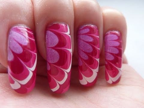 Pretty white red pink flower water marble nail art design pretty white red pink flower water marble nail art design tutorial technique howto hd video prinsesfo Gallery