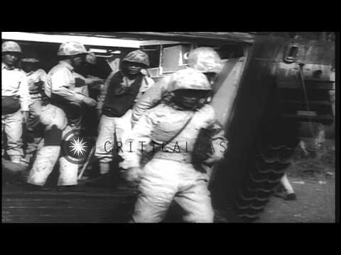 Chinese Nationalist troops fire rifles as Chiang Kai Shek watches them during a m...HD Stock Footage